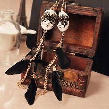 BOHO MASK FEATHER DANGLE DROP EARRINGS Bohemian Gypsy Jewellery Gift Idea Drama