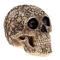 Halloween Resin Craft Skull Head Statue Skeleton Ornament Art Carving Statue