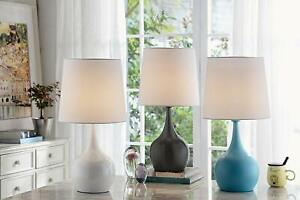 Niyor Powder White Metal 3 Way Table Touch Lamp with linen shade  23IN H.