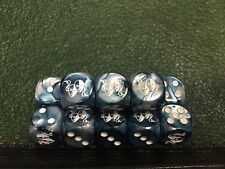 D6 White Theater Masks on Silver & Blue - Customized Six-Sided Dice