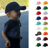 Baseball Cap Plain Kids Boys Strapback Solid Hats Polo Style Hook-N-Loop New