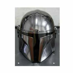Steel Mandalorian Helmet W/Liner and Chin Strap For LARP/Costumes/Role Plays