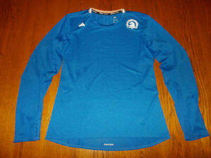 ADIDAS BOSTON MARATHON LONG SLEEVE BLUE RUNNING TOP WOMENS LARGE EXCELLENT COND.