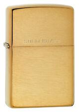Zippo Engraved Solid Brass Brush Finish Pocket Lighter