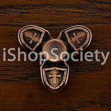 Metal Cross Shield Tri Spinner Fidget Spinners Hand Desk Focus Toy ADHD - BRONZE