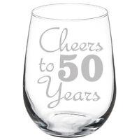 Cheers to 50 Years Anniversary 50th Birthday Gift Wine Glass