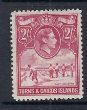 Turks and Caicos Islands - 1938/45 2/- Bright Rose-Carmine KGVI - SG 203a - MNH