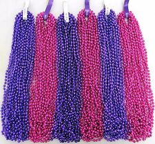 Mardi Gras Beads Hot Pink Disco and Purple Mix Parade Party 6 Dozen 72 Necklaces