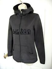 BURTON Dry Ride XS Ladies Track Jacket Hooded Black Embroidered LOGO Plush Back