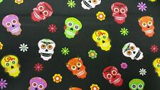 """Halloween Floral Skulls on Black 100% cotton 44"""" fabric by the yard"""