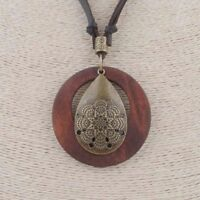 Boho Bohemian Brown Suede Leather Wooden Disc Bronze Mandala Pendant Necklace