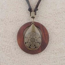 Boho Bohemian Brown Suede Leather Wooden Disc Bronze Mandala Pendant Necklace