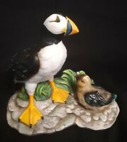 Ceramic Puffin with baby figurine