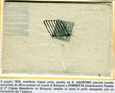1858 Antichi Stati Pontificio 1 baj isolato su manifesto  SPL