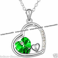 BLACK FRIDAY DEALS Silver & Green Heart Crystal Necklace Xmas Gift For Her Women