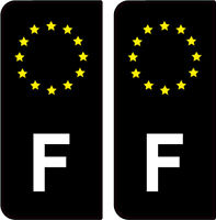 2 STICKERS NOIR LOGO ( F ) FRANCE PLAQUE IMMATRICULATION AUTO DEPARTEMENT GAUCHE