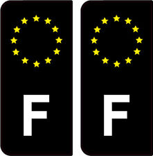 2 STICKERS NOIR LOGO ( F ) FRANCE PLAQUE IMMATRICULATION AUTO DEPARTEMENT GAUCHE