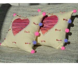 """Fabric17 Linen & Silk Throw Pillow Cover 16x16"""", 100% Linen, Quilted Silk Heart"""