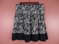 SK06411- TALBOTS Woman Cotton Silk Pleated Flared Skirt Multi-Color Geo Sz 14 16