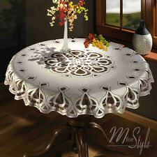 "Cream or White Tablecloth Round Lace  49"" 125cm  Premium Quality"