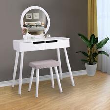 Round Mirror Makeup Vanity Table Set White Bedroom Furniture 2 Sliding Drawers