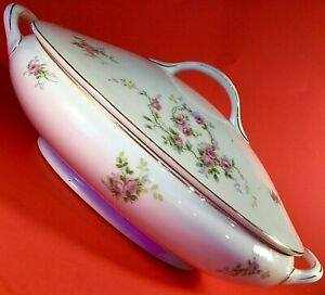 NAYOGA NIPPON TUREEN COVERED DISH PINK ROSES GOLD ACCENTS ANTIQUE LATE 1800'S