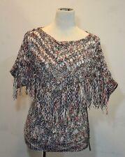 BCBG MAXAZRIA Poncho Loose Knit Crochet Top Sweater Women Sz Large