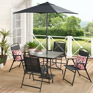 Modern Outdoor Patio Dining Set 6pc Black With Umbrella, Summer Barbecue Ready