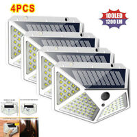 100 LED Solar Powered Light Outdoor PIR Motion Sensor Garden Security Wall Lamp+