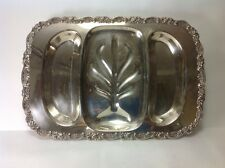 Oneida USA Silver Plate Footed MEAT TRAY Fancy Rose Bud Foliage Trim