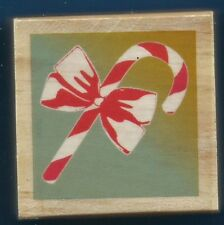 CANDY CANE Christmas Holiday Card Gift Tag NEW NICOLE Wood Craft RUBBER STAMP