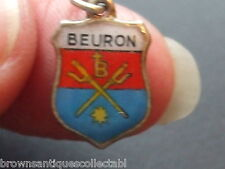 ANTIQUE VINTAGE GERMAN SILVER ENAMEL TRAVEL SHIELD BEURON TRIDENT FOB CHARM OLD