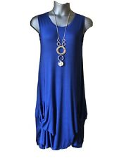New ITALIAN LAGENLOOK Quirky Cobalt Blue Dress - OSFA ( UK 12 14 )