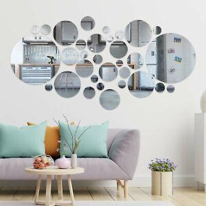 32PCS Circle Mirror Tiles Wall Sticker Art Decal Stick On Bedroom Home Art Decor