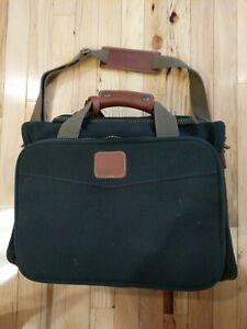 Dakota Tumi Green Brown Canvas Leather Weekender Overnight Travel Carryon Bag