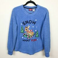 Rudolph the Red Nosed Reindeer Blue Sherpa Sweater Size Medium