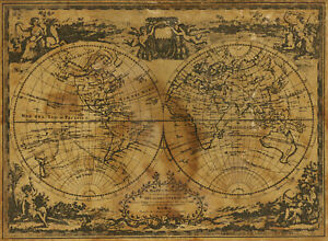 Vintage world map   Posters Prints paintings old for glass frames