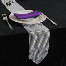 "4.6""x 108"" Diamond Mesh Table Runner Wrap Roll Rhinestone Ribbon Crystal Wedding"