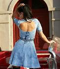 by Alina Robe Femme Jeans Skater robe dos nu mini robe robe en jeans bleu XS-M