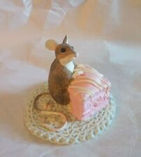 After the Party Mouse with Cake by Munro 1993 Figurine-HTF