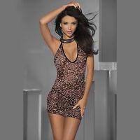 2293J Sexy Babydoll Leopard Skirt Lingerie Stretch Halterneck Chemise Thong Hot