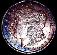 1891 $1.00 Silver Morgan Dollar • Blue Rim Toning