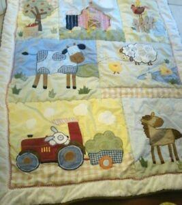 Kidsline Farm Patchwork Quilt Sheep Horse Cow Barn Tractor Chicken
