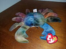 Ty Beanie Baby Claude the Crab Ty Dye Retired PVC VERY RARE, with FACTORY Errors