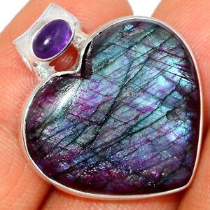 Heart - Red Flash Labradorite & Amethyst 925 Silver Pendant Jewelry BP38108