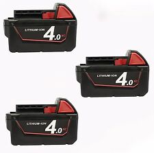3x For Milwaukee 4.0AH 18V  M18 M18B4 48-11-1828 Red Lithium Ion XC 4.0 Battery