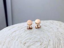 Steel Round Cut Stud Earrings 5mm Simple 18K Rose Gold Titanium Stainless