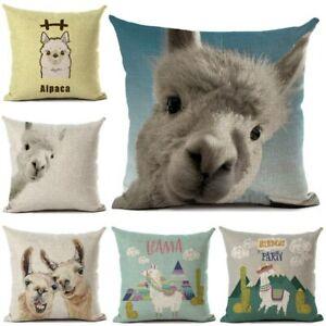 Funny Alpaca Llama Printed Pillow Cover Car Sofa Throw Pillows Case Animal Style