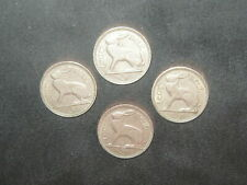 Lot Of 4 Vintage Silver Color Irish Celtic Ireland Rabbit/Harp 3 Pence Coins