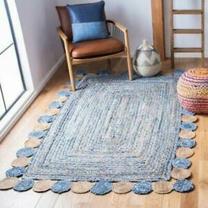 5x8 feet square indian braided cotton jute rugs bohemian home decor chindi rugs
